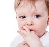 Girl sucking finger. Close up Portrait of baby girl sucking finger isolated on white background Stock Photography
