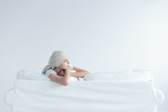 Girl suffering from cancer Stock Photography