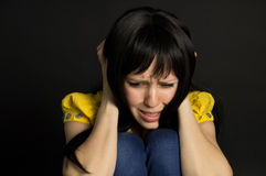 Girl suffering and crying Royalty Free Stock Image