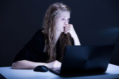 Girl suffering from electronic aggression Royalty Free Stock Images
