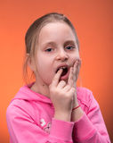 Girl suffering from a toothache Royalty Free Stock Images