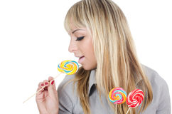 The girl with a sugar candy Royalty Free Stock Image