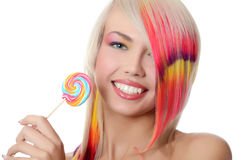 The girl with sugar candy isolated Stock Photos