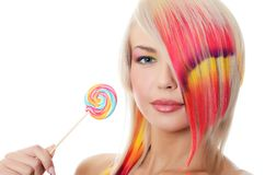 The girl with sugar candy isolated Royalty Free Stock Images
