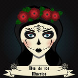 Girl with sugar skull calavera make up. Mexican day of dead vector illustration Stock Photography