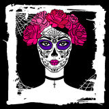 Girl with sugar skull makeup. Mexican Day of the dead. Royalty Free Stock Photography