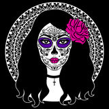 Girl with sugar skull makeup. Mexican Day of the dead. Stock Images