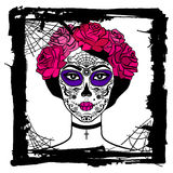 Girl with sugar skull makeup. Mexican Day of the dead. Stock Image