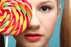 Girl and sugarplum Stock Image