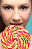 Girl and sugarplum Royalty Free Stock Image