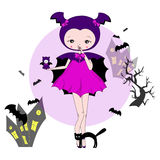 Girl in a suit of bat. Cute little girl in a suit with a toy. Character design illustration. Halloween. Masquerade. Print for children. Background for kids Royalty Free Stock Photo