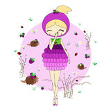 Girl in a suit of blackberry. Cute little girl in a suit of blackberry with a toy. Character design illustration. Forest background. Halloween. Masquerade. Print Royalty Free Stock Photo