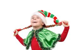 Girl in suit of Christmas elf Royalty Free Stock Image