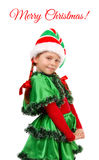 Girl in suit of Christmas elf isolated on white Stock Image