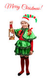 Girl in suit of Christmas Elf with Lamp on white Stock Image