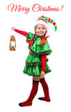 Girl in suit of Christmas Elf with Lamp on white Stock Photography