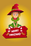 Girl in suit of Christmas elf Stock Photo