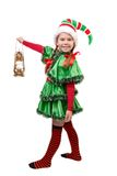 Girl in suit of Christmas elf with oil lamp Royalty Free Stock Photography