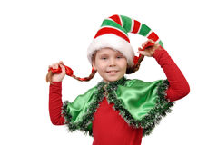 Girl in suit of Christmas elf on a white Royalty Free Stock Image