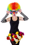 Girl in a suit of the clown isolated on a white Stock Photos