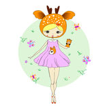 Girl in a suit of deer. Cute little girl in a suit of deer with a toy. Character design illustration. Halloween. Masquerade. Print for children. Background for Royalty Free Stock Photography