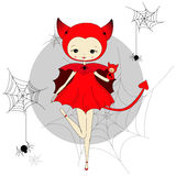 Girl in a suit of devil. Cute little girl in a suit of red devil with a toy. Character design illustration. Spiders and web. Halloween. Masquerade. Print for Royalty Free Stock Photos