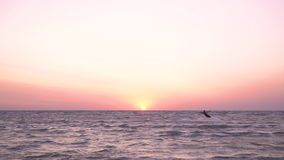 A man and a woman are kitesurfing at dawn. A girl in a suit for diving holds a training kite, in the background a man swims on kitesurf stock video