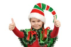 Girl in a suit of elf Santa. Isolated on the white Royalty Free Stock Photos