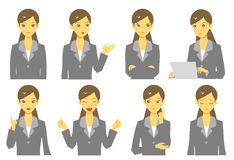 Girl in suit, expressions, set Stock Photo