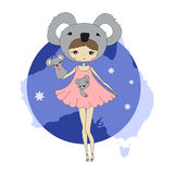 Girl in a suit of koalas. Cute little girl in a suit of coala with a toy. Character design illustration. Halloween. Masquerade. Print for children. Background Stock Photography