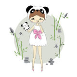 Girl in a suit of panda. Cute little girl in a suit of panda with a toy and bamboo elements. Character design illustration. Halloween. Masquerade. Print for Stock Photo