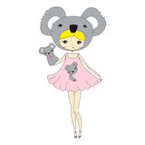 Girl in a suit of koalas. Cute little girl in a suit with a toy koala. Character design illustration Stock Images