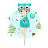 Girl in a suit of owl. Cute little girl in a suit of own with a toy. Character design illustration. Forest background. Halloween. Masquerade. Print for children Stock Photography