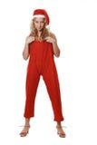 Girl in a suit santa Stock Photos