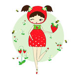 Girl in a suit of strawberry. Cute little girl in a suit of strawberry with a toy. Character design illustration. Forest background. Halloween. Masquerade. Print Royalty Free Stock Photos