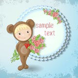 Girl in the suit of a teddy bear with a rose. Vector illustration Stock Photos