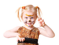 Girl in suit of tiger Stock Photos