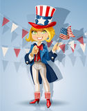 Girl in a suit of Uncle Sam Celebrates 4th July Stock Photos