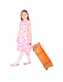 Girl with suitcase. Girl holding toy with suitcase Royalty Free Stock Photos