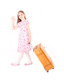 Girl with suitcase. Girl holding toy with suitcase Royalty Free Stock Image