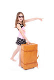 Girl with suitcase. Girl in suglass with suitcase Stock Photo