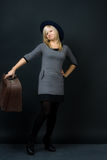 Girl with suitcase Royalty Free Stock Photo