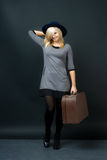Girl with suitcase Royalty Free Stock Photography