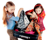 Girl with a suitcase Royalty Free Stock Photography