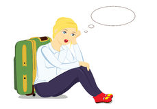 Girl with a suitcase Royalty Free Stock Images