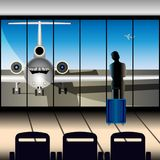 A girl with a suitcase at the airport looks at the plane through a large window stock illustration