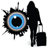 Girl with a suitcase and ble eye vector illustration Royalty Free Stock Photography