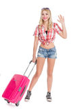 Girl with a suitcase Stock Photography