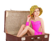 Girl in a suitcase Royalty Free Stock Image