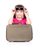 Girl with suitcase. isolated on white background Royalty Free Stock Photography